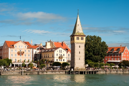 the habour of lindau at lake constance