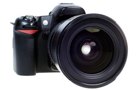 digital single lens reflex camera with zoom lense isolated on white background