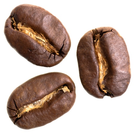 three espresso beans isolated before white background photo