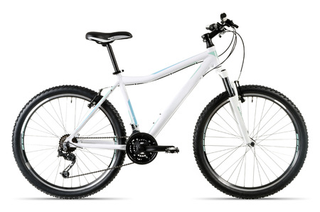 circuit brake: a white mountain bike isolated before white background