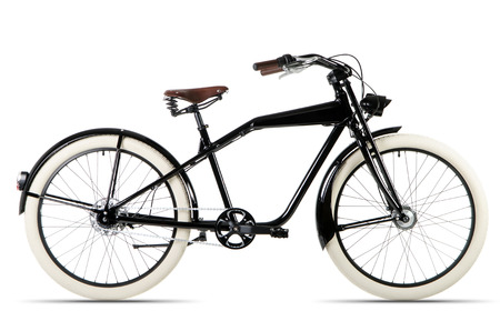 cruiser bike: black Cruiser bicycle before white background
