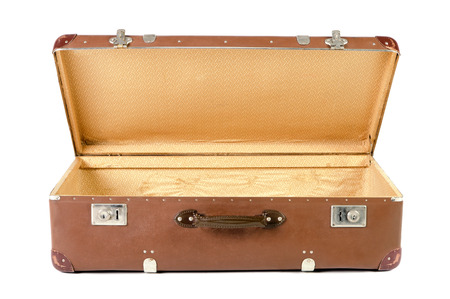 openly: old brown suitcase isolated before white background