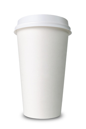 Paper cup isolated before white