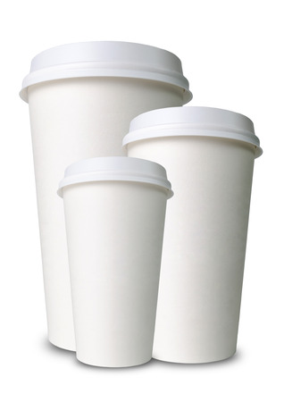 three paper cups isolated before white photo