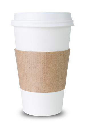 caf� � emporter: tasse de papier avec manches isol� avant blanc