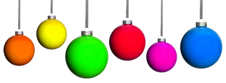 six coloured Christmas tree balls isolated photo