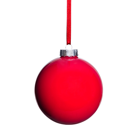 christmas tree ball: a red Christmas tree ball isolated before white background