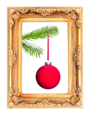 framed picture: red Christmas tree ball at a fir branch in a picture frame