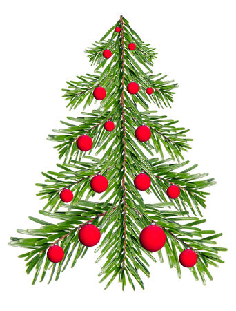 Fir tree made of fir branches with red Christmas balls before white background photo