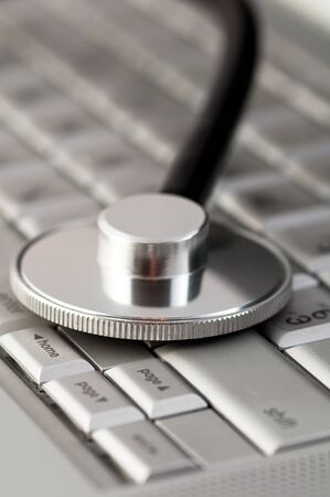 Stethoscope on a laptop keyboard
