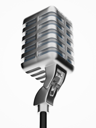 retro microphone isolated on white Standard-Bild