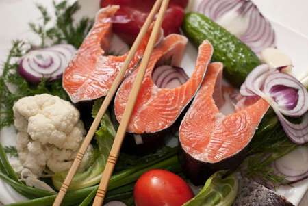 salmon with vegetables Stock Photo