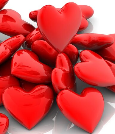 red hearts valentine on a white background