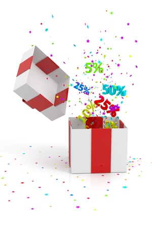 open gift box with discounts on white background