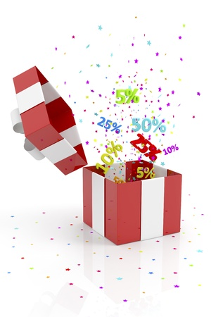 red gift box: red gift box with discounts and stars Stock Photo