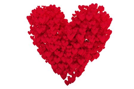 red heart shape with hearts isolated on white Stock Photo