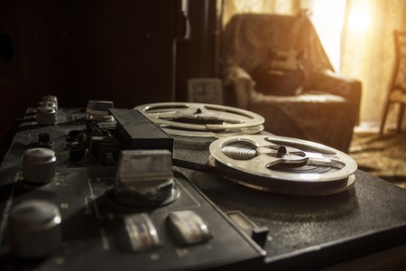 The vintage tape recorder Imagens