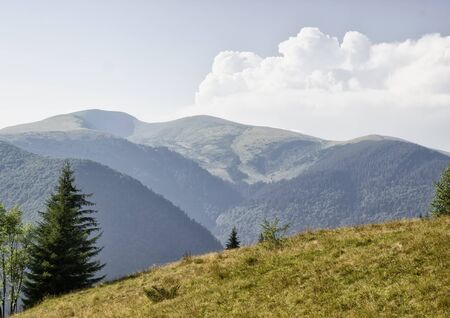 Mountain range clouds, nature, forest, landscape, day, beautiful