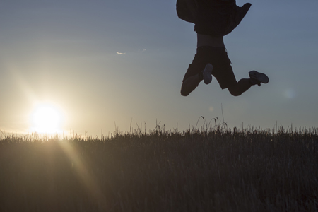 Succes of the something, man, silhoute, field
