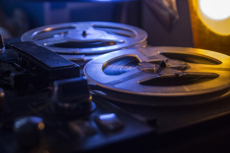 Vintage tape recorder is playing music, close up Фото со стока - 92839192
