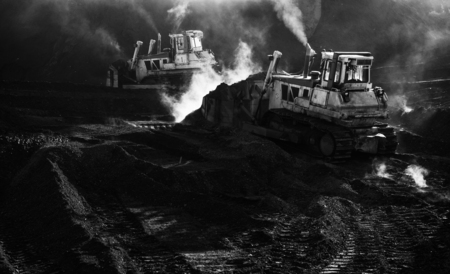 Two excavators are working, dirty job, mud Stock Photo