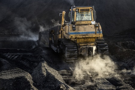 Coal mining, an excavator is mining, ecological problerm Stock Photo