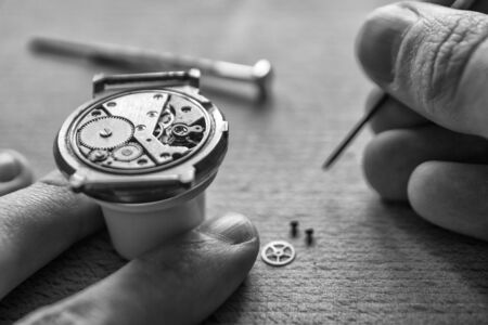 Watchmaker's workshop, watch repair, special tools for watch, background Stockfoto