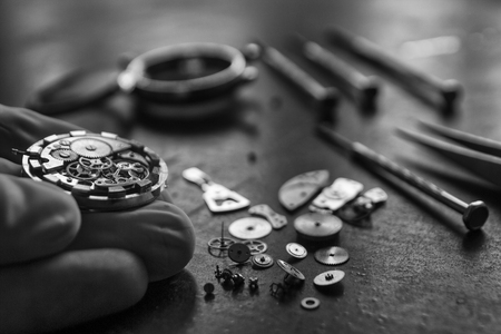 Mechanical watch repair, watchmakers workshop, special tools Stock Photo