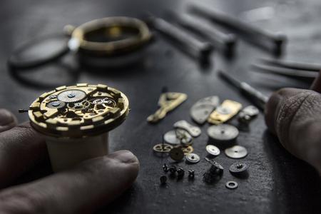 Watchmaker's workshop, watch repair, special tools for watch, background Foto de archivo