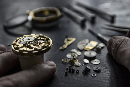 Watchmaker's workshop, watch repair, special tools for watch, background Stock Photo