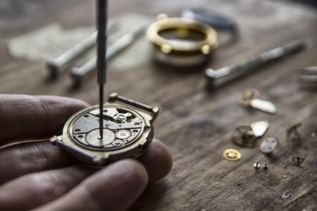 Mechanical watch repair, watchmakers workshop, special tools Stock Photo