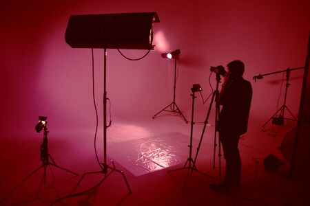 Process of making film, film crew, set Banco de Imagens