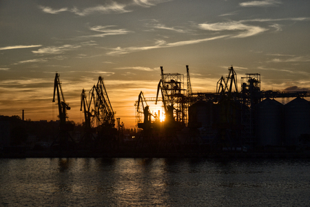Cargo port at sunset, industry