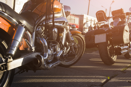 Cool motocycles in a sunlight, orange, travel