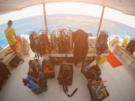 Equipment for scuba divers, sunlight, a day