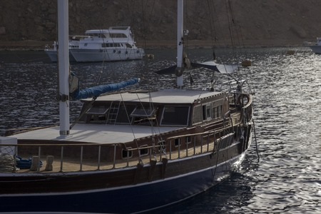The yacht in the quite harbour, close up
