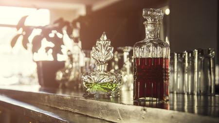 Interior of pub, a lot of bottles Фото со стока