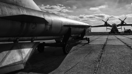 Military base, cold war, nuclear bomb on the runway, military base