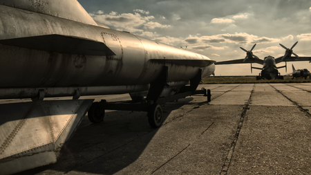 Nuclear bomb on the runway, military base