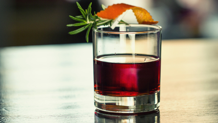 Cocktail with a sprig of rosemary, close up Stok Fotoğraf