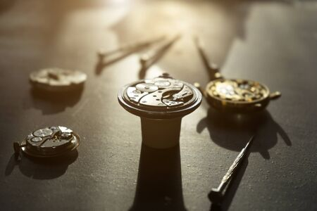 Mechanical watch repair, close up Stock Photo