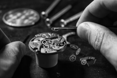 Watchmaker's workshop, mechanical watch repair 版權商用圖片