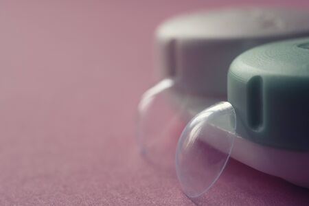 Contact lenses, case for contact lenses, close up