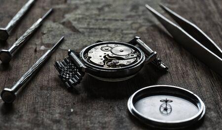 Mechanical watch repair, watchmakers workshop Stock fotó