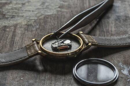 Replacing the watch battery, watchmakers workshop Stock fotó
