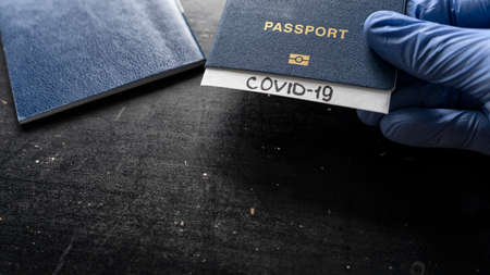 Passport with a diagnosis of covert 19, traveling during a pandemic