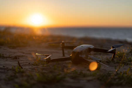 Drone on the ground, sunset