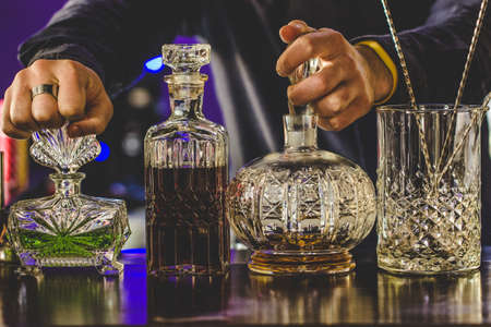 Bottles on the bar, vintage bottles Zdjęcie Seryjne