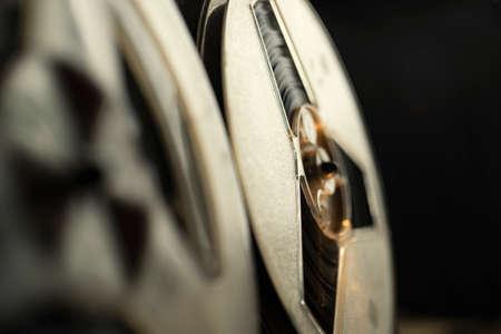 Vintage tape recorder, close up shot