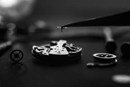 Mechanical watch assembly, watchmakers workshop with many parts and gears Zdjęcie Seryjne